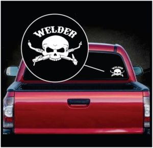 welding welder skull torch window decal sticker