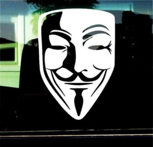 V FOR VENDETTA GUY FAWKES MASK Decal