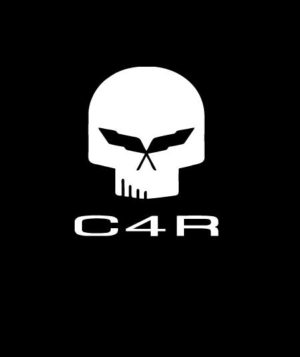 Corvette C4R Skull Vinyl Decal Sticker