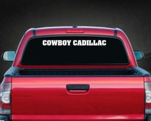Cowboy Cadillac Windshield Decal