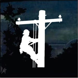 Lineman Electrician decal - Pole climber decal