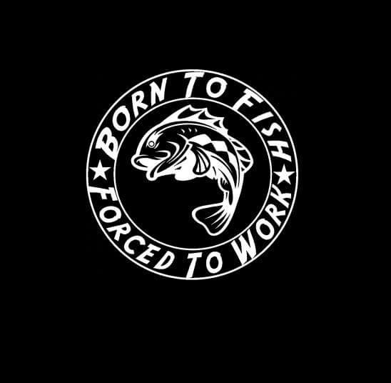 Born To Fish Forced To Work Round Decal Sticker Custom Sticker Shop - Custom round vinyl decals
