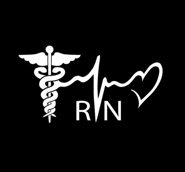 Nurse Rn Heartbeat Caduceus Vinyl Decal Sticker