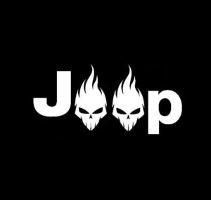 Jeep Skulls Flaming Vinyl Decal Sticker