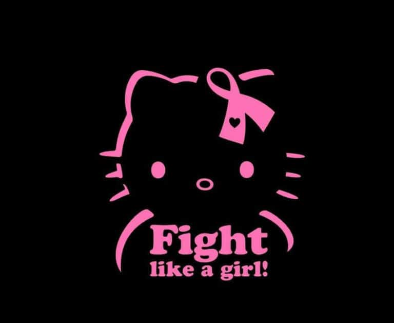 57cb3588a Hello Kitty Breast Cancer Fight Like a Girl Window Decal Sticker ...
