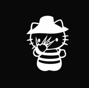 Hello Kitty Freddy Kruger Nightmare on Elm Street Decal Sticker