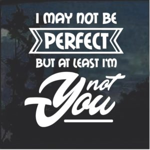 May Not be Perfect but at least I am not you Decal Sticker