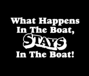 What happens on the boat stay on the boat Vinyl Decal Sticker