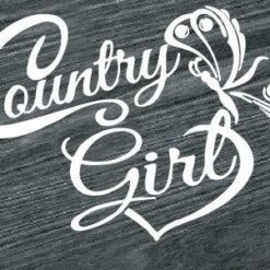 country girl heart and butterfly decal sticker
