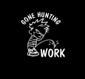Calvin Piss Work Gone Hunting Vinyl Decal Stickers