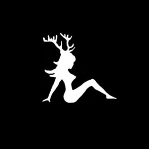 Mudflap Girl with Deer Antlers Vinyl Decal Sticker