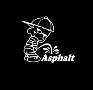 Calvin Piss on Asphalt Vinyl Decal Stickers