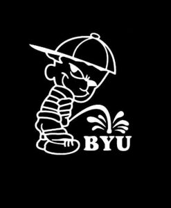 Calvin Piss on BYU Brigham Young University Vinyl Decal Stickers