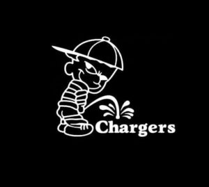 Calvin Piss on San Diego Chargers Vinyl Decal Stickers