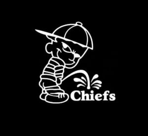 Calvin Piss on Kansas City Chiefs Vinyl Decal Stickers