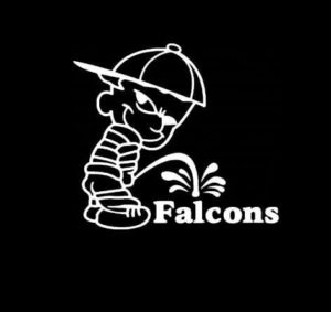 Calvin Piss on Atlanta Falcons Vinyl Decal Stickers