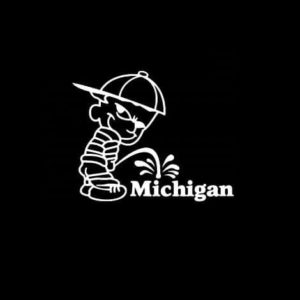 Calvin Piss on Michigan Vinyl Decal Stickers