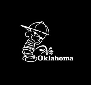 Calvin Piss on Oklahoma Sooners Vinyl Decal Stickers