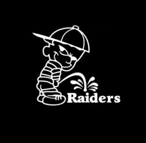 Calvin Piss on New Oakland Raiders Vinyl Decal Stickers