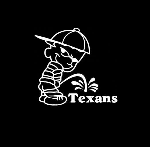 Calvin piss on houston texans vinyl decal stickers