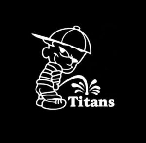 Calvin Piss on Tennessee Titans Vinyl Decal Stickers