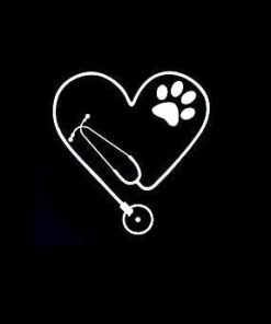 Veterinary Stethoscope Paws Decal Stickers
