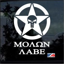 Punisher Star Round Molon Labe decal sticker