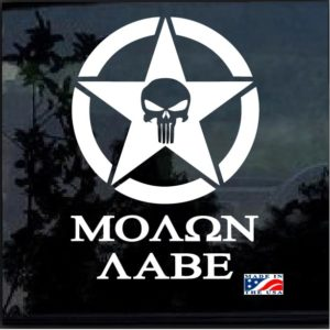 Punisher Star Round Molon Labe decal sticker