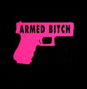 Armed Bitch Gun Funny Vinyl Decal Sticker