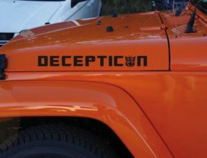 Jeep Wrangler Transformers Decepticon Hood Set Vinyl Decal Sticker