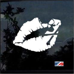 Kiss of Death Lips Skull Decal Sticker