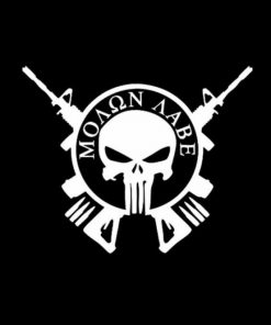 Punisher Molon Labe Round Vinyl Decal Stickers