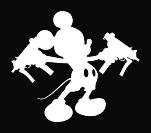 Mickey Mouse Uzi Guns Vinyl Decal Stickers