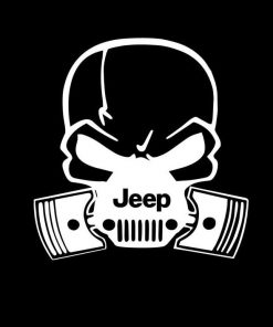 Jeep Pistons Skull Mask Vinyl Decal Sticker