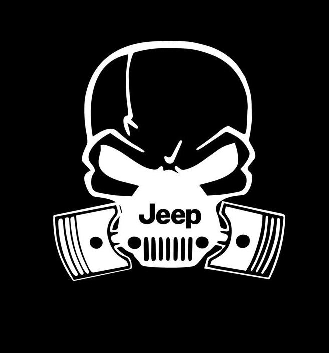 Jeep Pistons Skull Mask Vinyl Decal Sticker