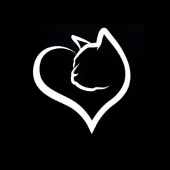 Cat Heart Love Vinyl Decal Stickers