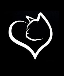 Cat Heart Love Vinyl Decal Stickers