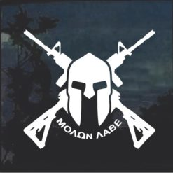Molon Labe Spartan Helmet Crossed Decal Sticker