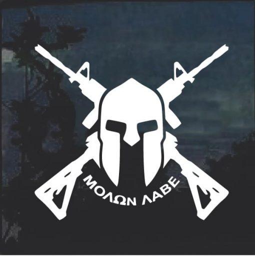 Molon Labe Spartan Helmet Crossed Decal Sticker