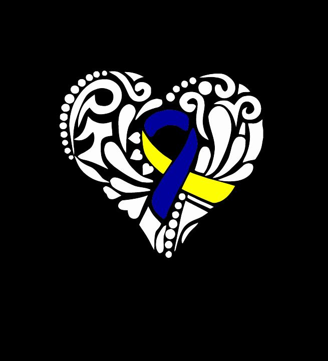 Down Syndrome Heart Ribbon Vinyl Decal Stickers