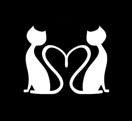 Love Cats Heart Vinyl Decal Stickers a3