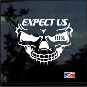 three percenter skull expect us decal sticker