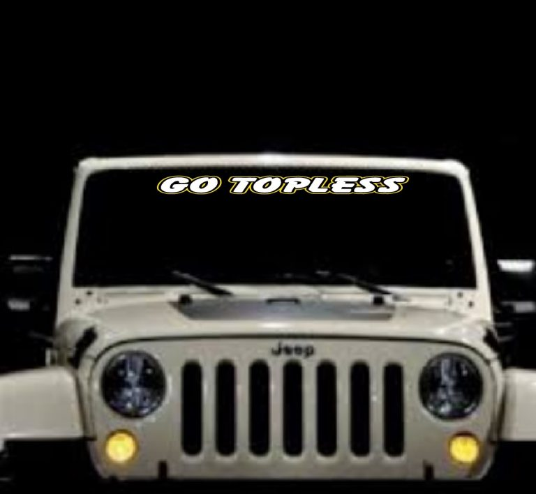 Go topless 2 color Jeep Vinyl Windsheiled Decal Stickers
