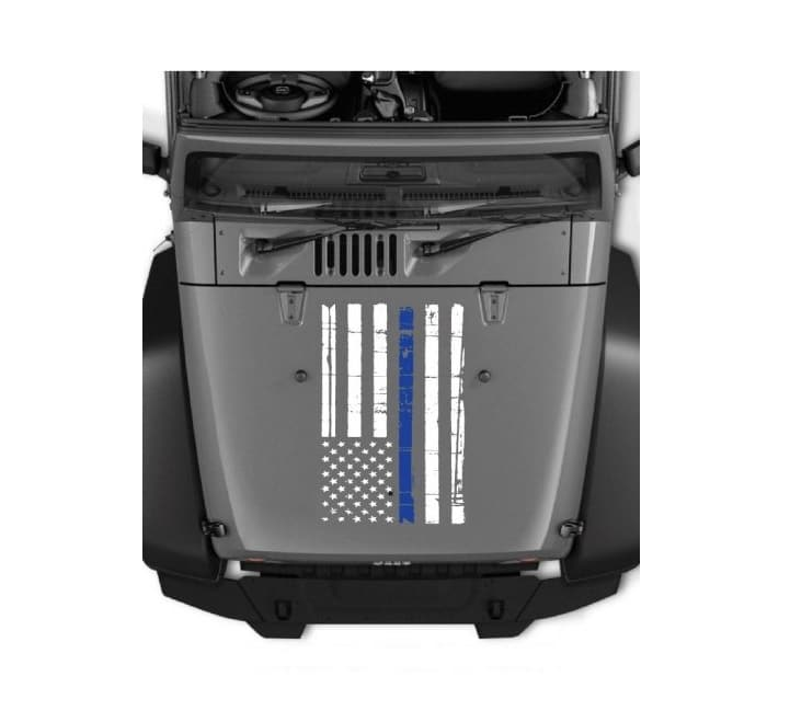 Jeep hood thin blue line decal sticker