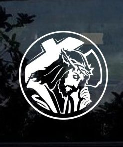 Jesus and Cross Round Vinyl Decal Stickers