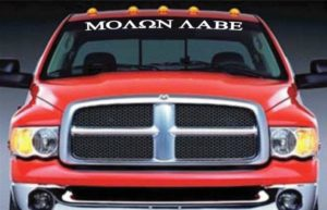 Molon Labe Come Take Them Vinyl Windshield Banner Decal Stickers
