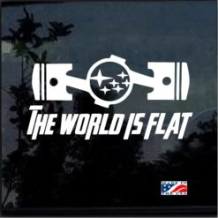 subaru the world is flat pistons decal sticker