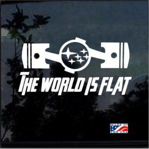 subaru the world is flat pistons decal sticker