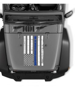 Thin Blue Line Jeep Hood Weathered Flag Vinyl Decal Stickers