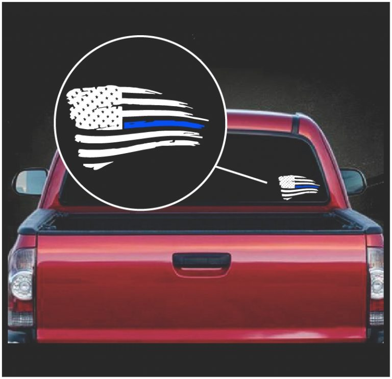 Blue lives Matter Weathered American Flag Decal Sticker